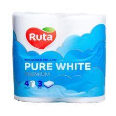 """Бумага туалетная """"Pure White"""" 4 рул., на гильзе, 3-х сл., белый RUTA"""