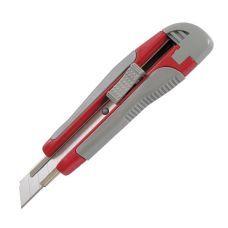 Нож канцелярский, металлические нарпавляющие, 18 мм. Прорезиненные ручка