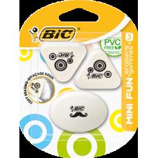 """Ластик для карандаша, набор """"Mini fun"""", 3 шт в блистере, BIC"""