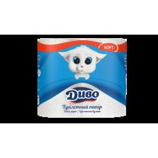 Бумага туалетная 2-слойная белый, 4-рулона, Диво Soft
