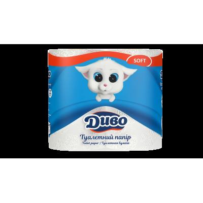 Бумага туалетная 2-слойная белый, 4-рулона, Диво Soft (34824)