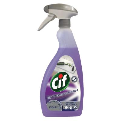 Высококонцентрированное средство Cif Professional 2 в 1 для мытья и дезинфекции всех поверхностей с распылителем 750 мл