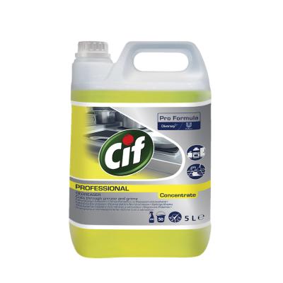 Средство для чистки поверхностей вытяжек кастрюль от жира пригара на кухне Cif Cleaner Degreaser Conc без запаха 5л