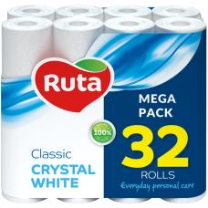 Бумага туалетная 2-слойная белый, 32-рулонов, RUTA