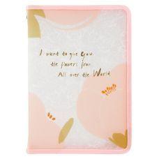 Папка объемная на молнии, А4+, Fleur, розовая