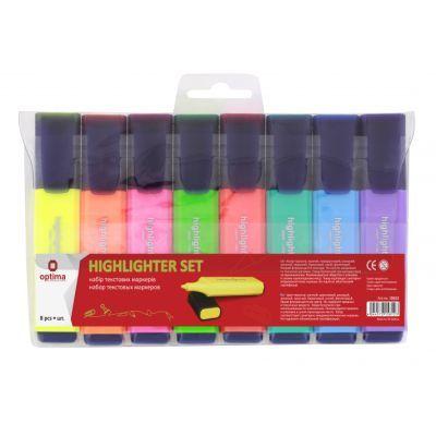 Набор текстовых маркеров 8 цветов на блистере, Optima
