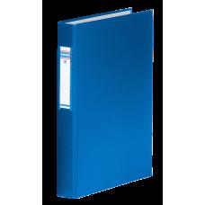 Папка на 4-х кольцах, А4, ширина торца 40 мм, сменный индекс, синий