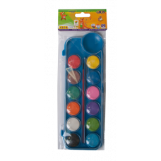 Краски акварельные 12 цветов,  пласт./кор., з пензлем,  KIDS Line