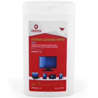 Салфетки для экранов, влажные, 100 шт., плоская туба (O72611)