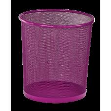 Корзина для бумаг круглая 265x265x280мм металлическая розовый