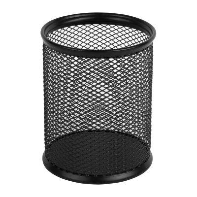 Подставка для ручек круглая 80х80х100мм металл черный (2110-01-A)