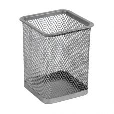 Подставка для ручек квадратная80х80х100мм металл серебро