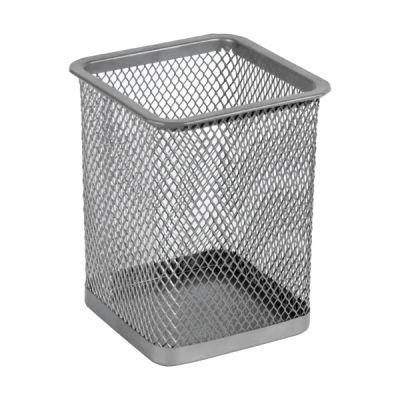 Подставка для ручек квадратная80х80х100мм металл серебро (2111-03-A)