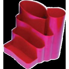 Подставка канцелярская фигурная пластик красная