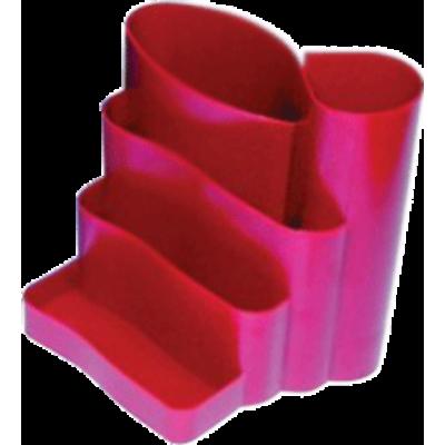 Подставка канцелярская фигурная пластик красная (81043)
