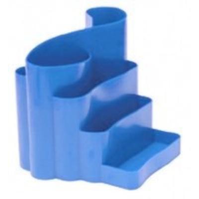 Подставка канцелярская фигурная пластик синяя (81044)