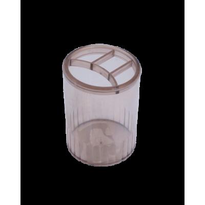 Стакан для ручек 4 отделения пластик дымчатый (81980)