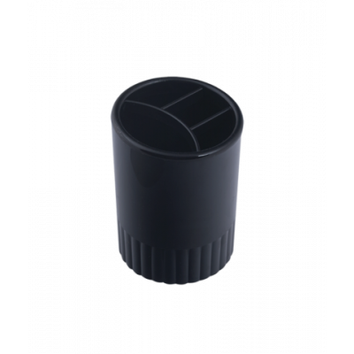 Стакан для ручек 4 отделения пластик черный (81981)