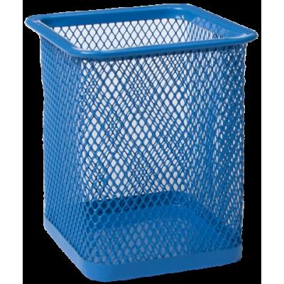 Подставка для ручек квадратная 80х80х95мм металл синий (BM.6201-02)