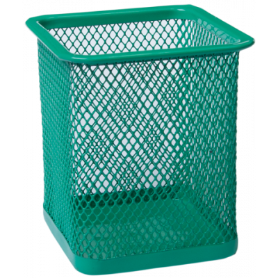 Подставка для ручек квадратная 80х80х95мм металл зеленый (BM.6201-04)