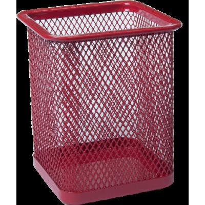 Подставка для ручек квадратная 80х80х95мм металл червоний (BM.6201-05)
