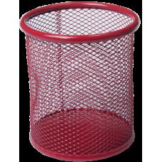 Подставка для ручек круглая 80х80х97мм металл червоний