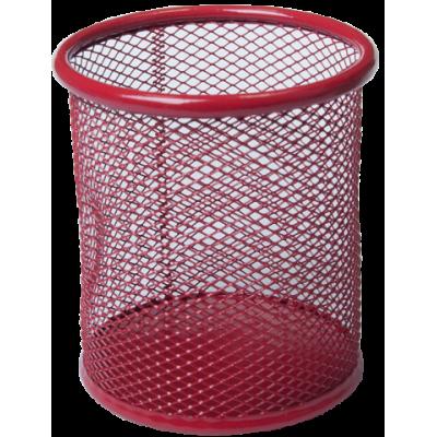 Подставка для ручек круглая 80х80х97мм металл червоний (BM.6202-05)