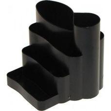 Подставка канцелярская фигурная пластик черная