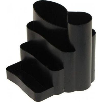 Подставка канцелярская фигурная пластик черная (81041)