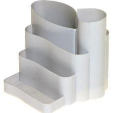 Подставка канцелярская фигурная пластик серая