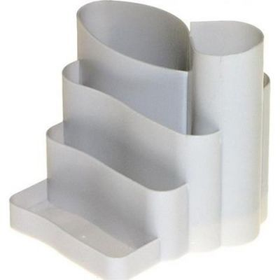 Подставка канцелярская фигурная пластик серая (81042)