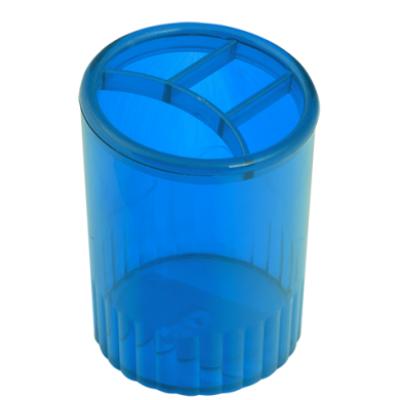 Стакан для ручек 4 отделения пластик непрозрачный голубой (81970)