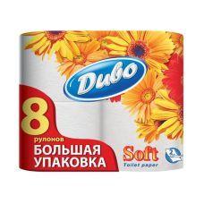 Бумага туалетная 2-слойная белый, 8-рулонов, Диво