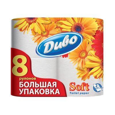 Бумага туалетная 2-слойная белый, 8-рулонов, Диво (32565)