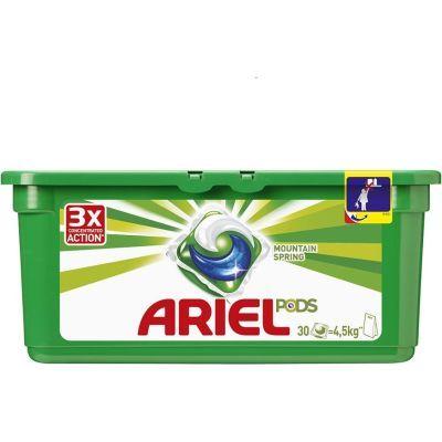 Гель-капсулы для стирки ARIEL горный родник автомат 30шт по 28,8г (586432)