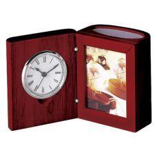 Настольный прибор (часы, фоторамка), красное дерево