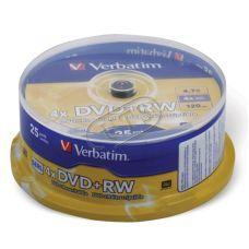 Диск VERBATIM DVD+RW 4,7Gb 4x Cake 25 pcs Silver