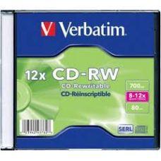 Диск VERBATIM CD-RW 700Mb 12x Slim