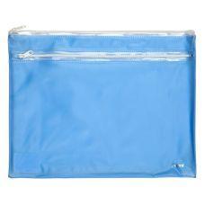 Папка-конверт на молнии А4 прозрачная голубой
