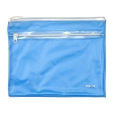 Папка-конверт на молнии А5 прозрачная голубой