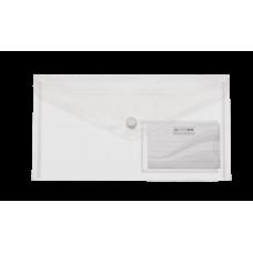 Папка-конверт на кнопке DL (240x130мм) TRAVEL прозрачная