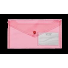Папка-конверт на кнопке DL (240x130мм) TRAVEL красный