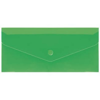 Евроконверт Е65 прозрачный на кнопке фактура глянец зеленый (N31306-04)