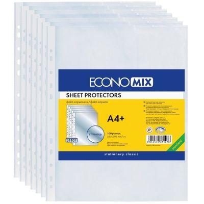 Файлы А4+ Economix 40мкм фактура глянец 100шт. (E31107)