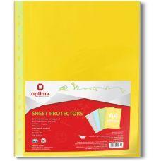 Файлы А4+ Optima 40мкм фактура глянец желтый 100шт.