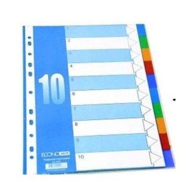 Индекс-разделитель А4 Economix пластик 10 позиций цветной (E30803)