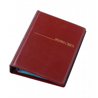 Визитница на 200 визиток на кольцах винил бордовый (0304-0008-10)