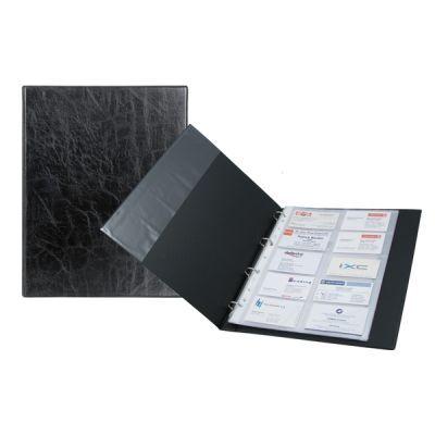 Визитница на 200 визиток на кольцах А4 черный (2504-01-A)