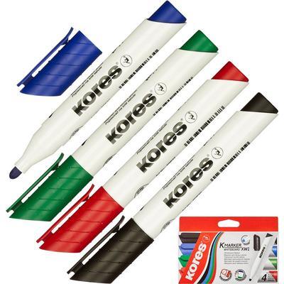 Набор маркеров для досок KORES 1-3мм 4шт. в блистере (K20843)