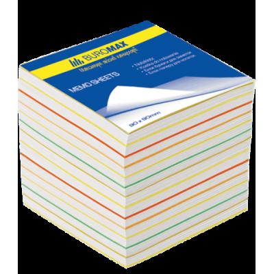 Блок бумаги для заметок Радуга JOBMAX 90х90х70мм не проклеенный (BM.2249)